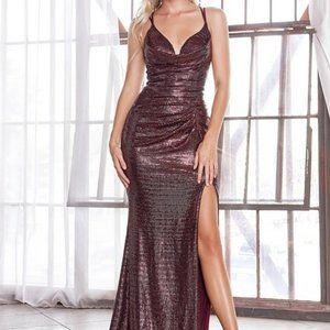 Wine Open back Glitter Party prom Dress CD168